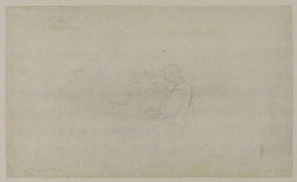 Sketch of peasants playing dice (verso)