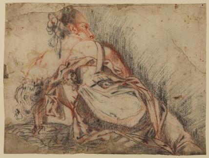 Recumbent draped female figure