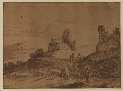 Landscape with ruins, cattle and figures