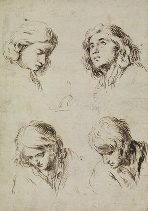 Four studies of heads of young men