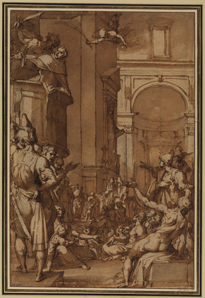 Martyrdom of a saint preaching in pulpit