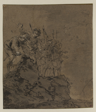 Group of soldiers on a cliff