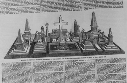 Models in inkerman stone of monuments in the Crimea and at Scutari