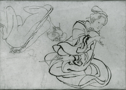Girl drying herself with a towel, and Girl holding a brush (two studies on one page)