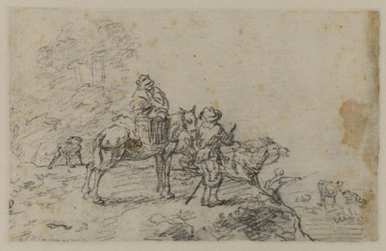 Landscape with muleteers crossing a stream (verso)