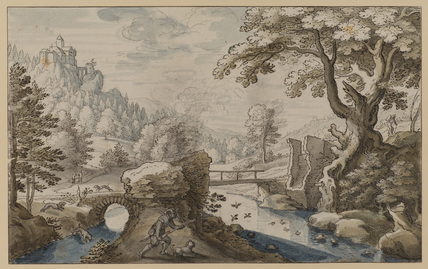 Landscape with ducks and river