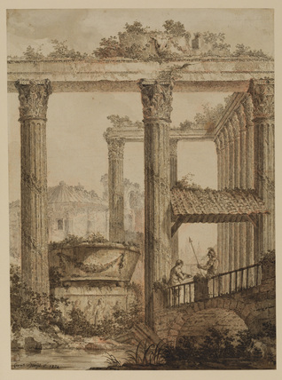 Classical ruins with figures