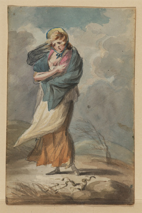 Young woman and her child in a storm (recto)
