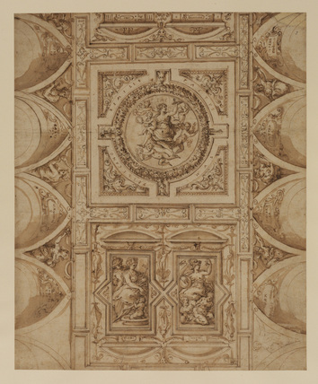 Design for a ceiling decoration, with Virtues and other figures (recto)