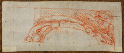Design for cartouche with supporting putto (recto)