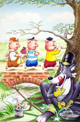 Three little pigs crossing a bridge