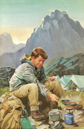 Cooking breakfast near tents