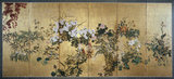Pair of 6-fold screens - Flowers of the four seasons (autum and winter)