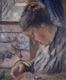 Mme Pissarro sewing beside a Window
