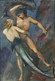 A Male Figure struggling with a Mermaid