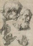 Studies of the Heads of two Apostles and their Hands