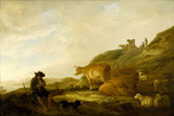 Seated Shepherd with Cows and Sheep in a Meadow