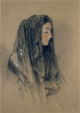 Head of a Spanish Girl in a Mantilla