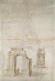 Sketches of Roman ruins at Tarragona and of a fortress