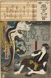 Ōnakatomi no Yoshinobu: the ghost of Oiwa emerges from a lantern (Ōnakatomi no Yoshinobu)