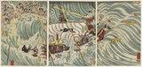 The Taira ghosts attacking Yoshitsunes's ship (Daimotsu no ura Yoshitsune shuju)