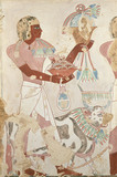 Copy of wall painting from private tomb 101 of Thenro, Thebes (I, 1, 214-215) servant with offerings