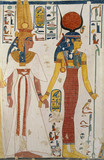 Copy of wall painting from the Queen&#039;s tomb 66 of Nefertari, Thebes, Queen Nefertari and the goddess Isis