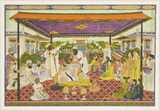 Court scene with panoramic palace and garden background