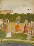 Krsna beside a river playing the flute