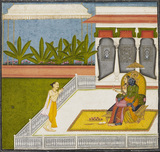 Radha and Krsna revered by the poet Bihari Lal on a terrace