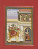 Scene from Ramayana. Rama on an elephant, Sita with two women in a balcony above