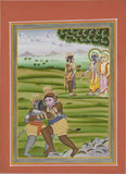 Scene from Ramayana. Two monkey figures embrace or wrestle in the foreground