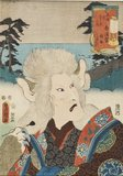 Actor turning into a cat witch Onoe Kikugaro III as Nekozuka, a cat witch at Shirasuga.