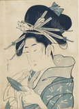 Bust portrait - blue print- girl with elaborate hair dress wiping a sake cup.