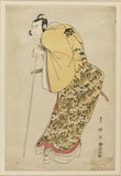 Nakamura Nakazo II (Masatsuya) leaning on a long white staff. Kudo Soketsune.