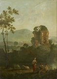 Pastoral Scene with Musicians by a classical Ruin, early 1770s