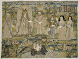 "Embroidered picture: ""Solomon and the Queen of Sheba"""
