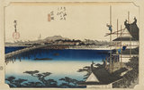 Woodblock print - Yoshida (Toyokawa bashi)