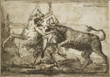 A Bull attacking a Satyr and a Centaur