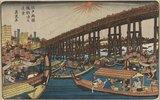 Ryogoku Bridge, boats & fireworks