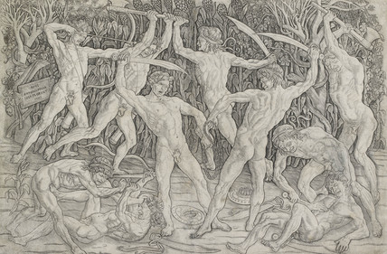 Battle of nude men in a forest