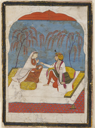 Raja offering a bracelet to a lady
