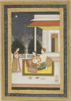 Love scene on a terrace at night