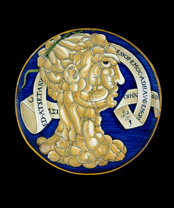 Maiolica plate painted with composite head