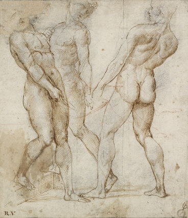 Three nude bearers (Study for the Entombment)