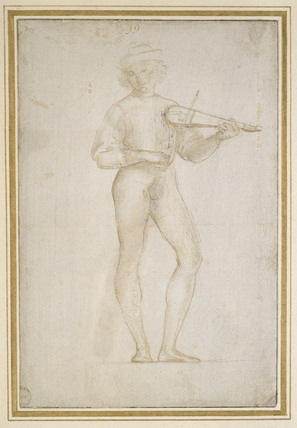 Two Studies (bisected) of a young Man making Music