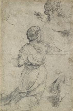 Recto: Studies for two kneeling Women