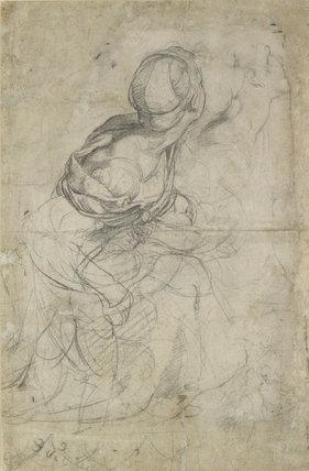 Verso: Studies for two kneeling Women