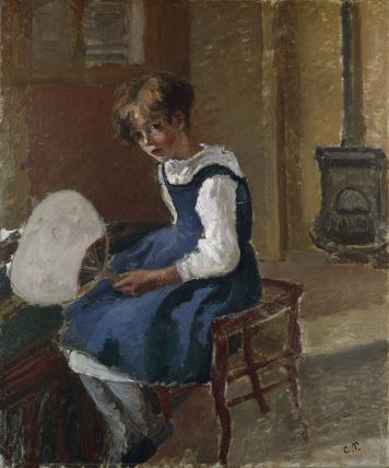Jeanne holding a Fan