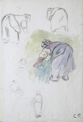 Sheet of Studies: Four Studies of a female Peasant bending, and two Studies of a Woman holding a Basket seen from the front and back
